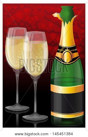 Open a bottle of champagne and two filled glasses on a background of red hearts. Beautiful background for romantic events. Romantic vector card.