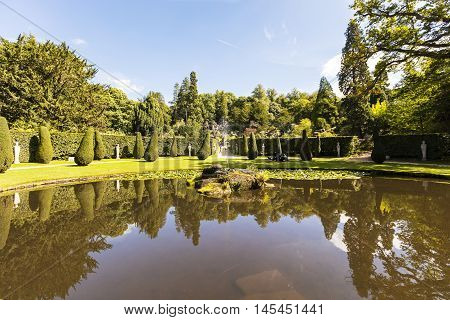 CHATSWORTH, UK - SEPTEMBER 1:The Ring Pond below the rockery in the grounds of the Chatsworth House (in the Peak District, England), an historic English Stately Home in the Derbyshire Dales. September 1, 2016.