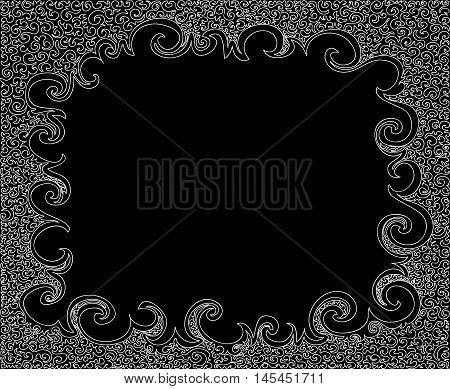 Abstract vector black and white decorative frame with curling figured shapes