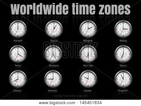 Set of clocks showing international time. World time zones. Vector illustration 2.