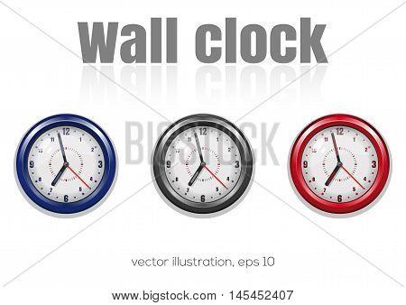 Set of color wall clocks vector illustration