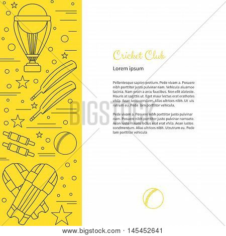Poster With Cricket Symbols And Objects