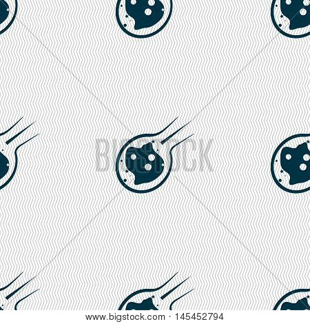 Flame Meteorite Icon Sign. Seamless Pattern With Geometric Texture. Vector