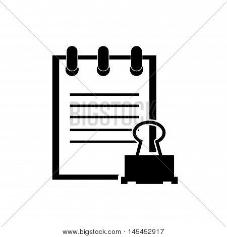 flat design notepad and clerical pin icon vector illustration