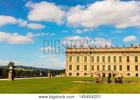 CHATSWORTH, UK - SEPTEMBER: Chatsworth House (in the Peak District, England), home of the Duke and Duchess of Devonshire (Cavendish family) is the Country's most visited stately home.  September 1, 2016.