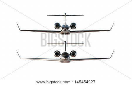 Photo Black Glossy Luxury Generic Design Private Airplane Model. Clear Mockup Isolated Blank White Background.Business Travel Picture.Left Right Side View. Horizontal, . 3D rendering