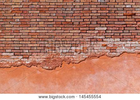 Derelict Run Down Orange Brick Wall Background