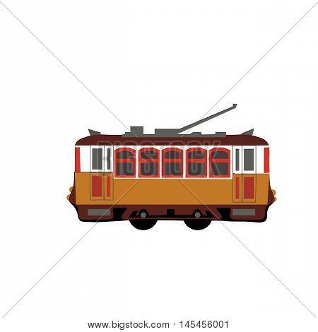 Vintage tram. Retro tram. Detailed tram. Side view tram. Touristic tram. Yellow tram vector illustration