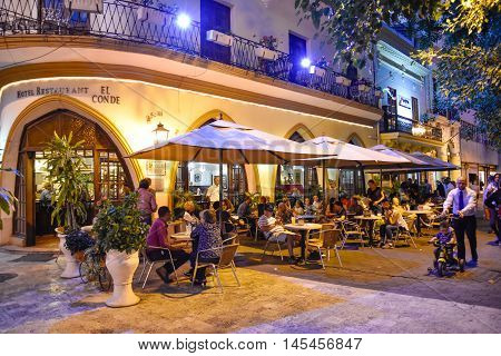 SANTO DOMINGO, DOMINICAN REPUBLIC - January 24, 2016: Famous Hotel Restaurant EL CONDE in Conde Street. Colonial Zone of Santo Domingo, Dominican Republic.