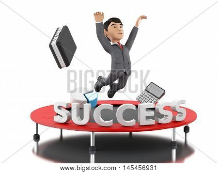 3d Illustration. Businessman jumping on a trampoline with word success. Business and success concept. Isolated white background.