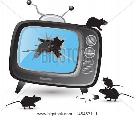 Retro tv broken screen with rat mouse or mice vector set flat design on a white background. illustration