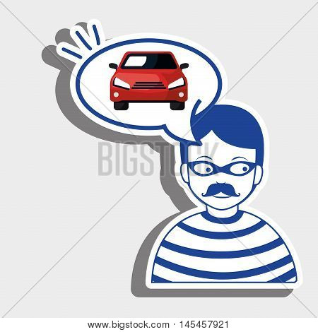 burglar criminal car icon vector illustration eps 10
