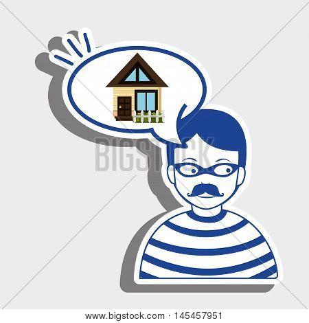burglar criminal house icon vector illustration eps 10