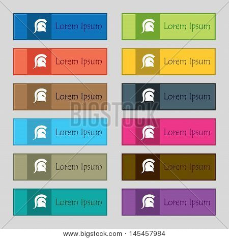 Spartan Helmet Icon Sign. Set Of Twelve Rectangular, Colorful, Beautiful, High-quality Buttons For T