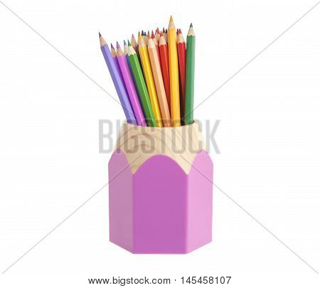 Multicolored pencils in pencil holders isolated on white background close-up