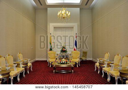 Phnom Penh, Cambodia - 19 November 2012. The bilateral meeting room had setup for Prime minister of Myanmar, Thein Sein, and Prime minister of Thailand, yingluck Shinawatra