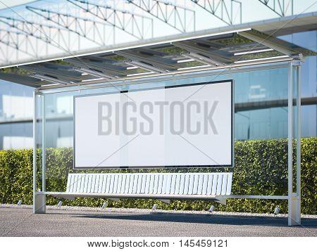 Modern bus stop with horisontal blank billboard near office building. 3d rendering
