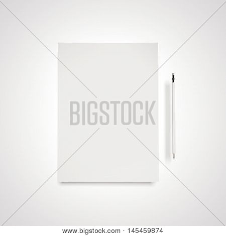 White paper sheet with penci in bright studiol. 3d rendering