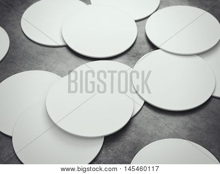 Many white circle beer coasters on a gray floor. 3d rendering