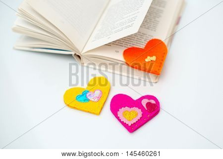 Book with bookmarks on a white background