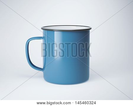 Blue blank enamel mug on bright floor. 3d rendering