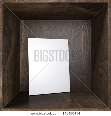 White poster on a brown wooden shelf. 3d rendering