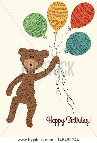 Cartoon cute Teddybear holding colorful balloons. Vector illustration. Great for Birthday, wedding, anniversary, jubilee, rewarding and winning design.