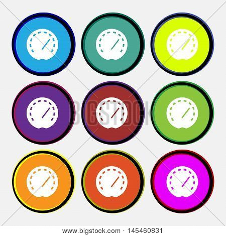 Speedometer Icon Sign. Nine Multi Colored Round Buttons. Vector