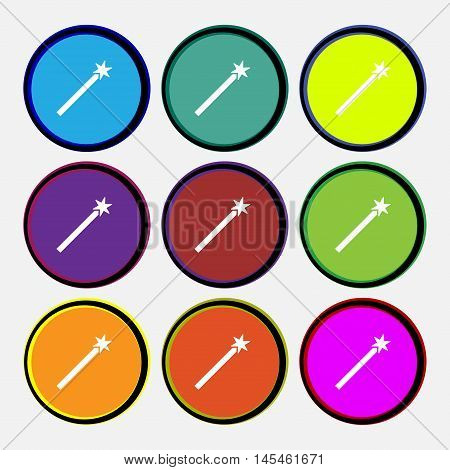 Magic Wand Icon Sign. Nine Multi Colored Round Buttons. Vector
