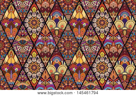 Boho Seamless Flower Pattern. Colorful golden purple tile mandala background. Intricate floral design element for wallpaper, gift paper, fabric print, furniture. Unusual vector ornament decoration