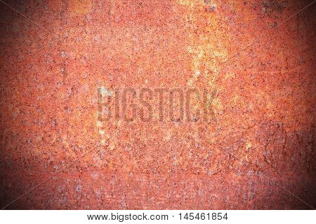 Old steel walkway sprayed red rust. Iron surface rust for background to use any design