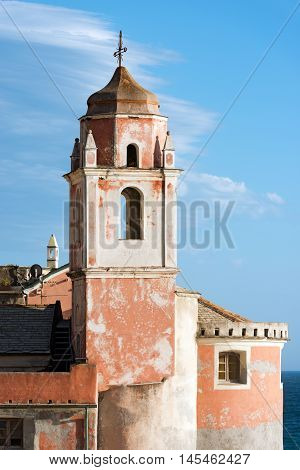 Detail of the Church of St. George (San Giorgio) of Tellaro ancient small village near Lerici La Spezia Liguria Italy Europe
