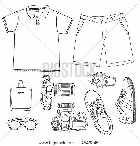 Set of summer men's clothes and accessories in a street style. Vector doodle illustration.