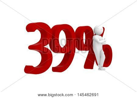 3d human leans against a red 39%