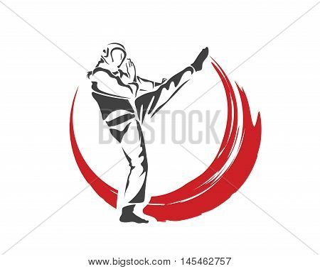 Aggressive Taekwondo Martial Art In Action Logo - Fast Action Defense Kick Flame
