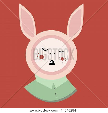 illustration rabbit in shirt, pastel color, long ears