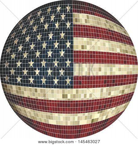 Ball with USA flag - Illustration,  Sphere USA flag vector,   Abstract Grunge Mosaic flag of USA
