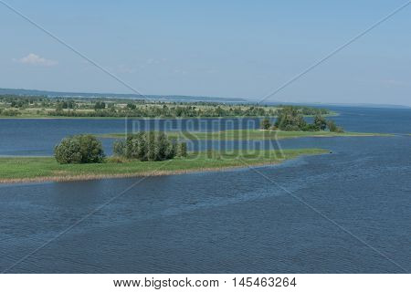 Islands on the great Russian river Volga