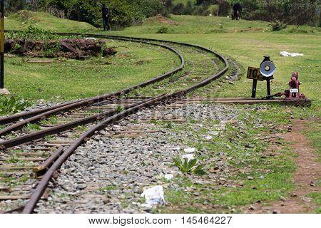 Nilgiri Mountain Railway. Tamil Nadu, India. Blue train. Unesco heritage. Narrow-gauge Turnout gear