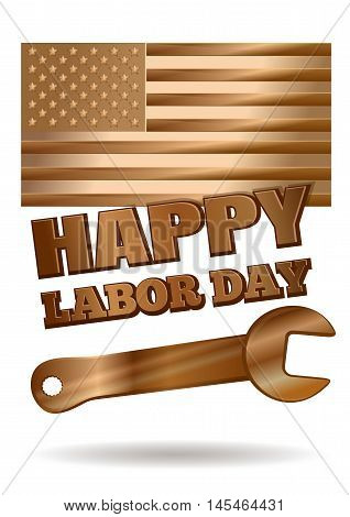 Labor Day design. Gold United States flag golden wrench and inscription - Happy Labor Day. Vector illustration