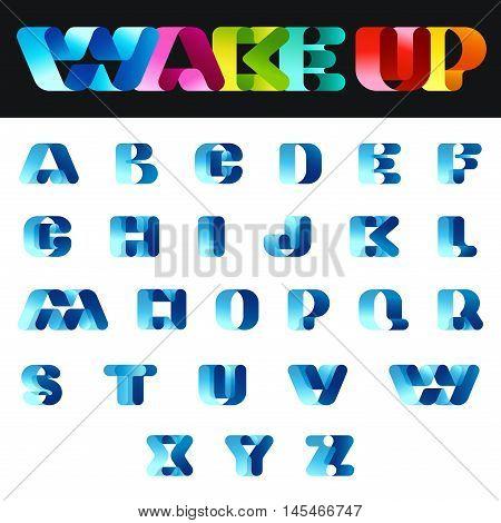 Ribbon Font Vector design. Typeface Alphabet. Logo ABC letters