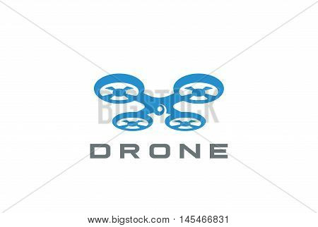 Flying Drone Logo design vector. Quadrocopter delivery icon