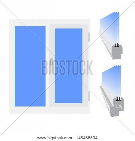 Plastic window, glazed sectional Vector illustration isolated