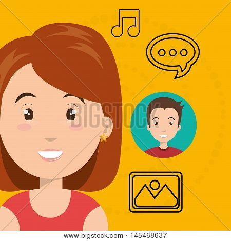 woman speak bubble music vector illustration eps 10