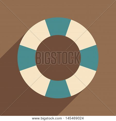 Flat with shadow icon and mobile application rubber ring