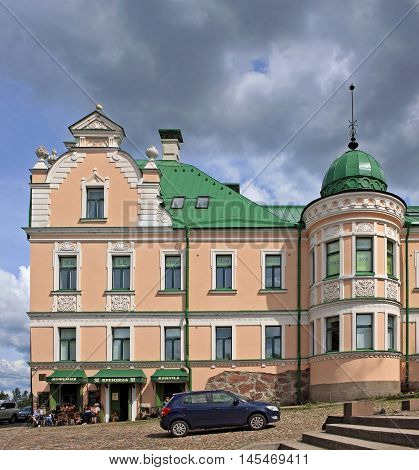 Vyborg Russia - 19 July 2016: Merchant's house on the Town hall square. Built in 1650. In 1772 in it for a while lived the Empress Catherine II.