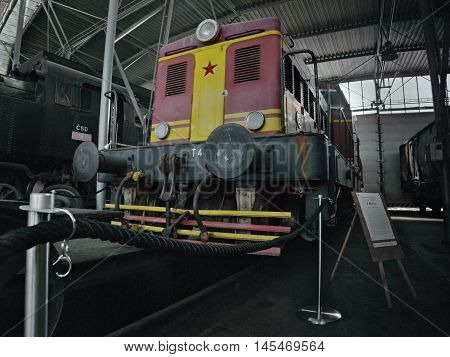 2016/08/28 - Chomutov Czech republic - red and yellow diesel locomotive T444.0101