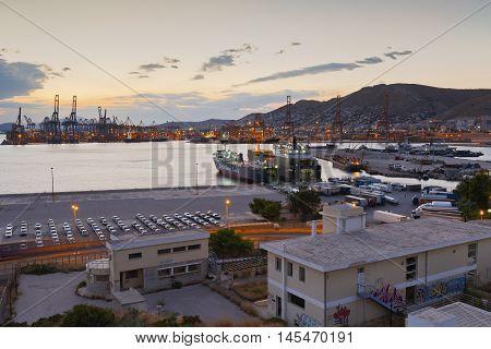 ATHENS, GREECE - SEPTEMBER 02, 2016: Port of Piraeus as seen from Keratsini, Athens on September 02, 2016.