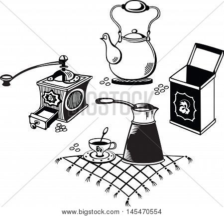 Coffee collection, black and white style, vector illustration