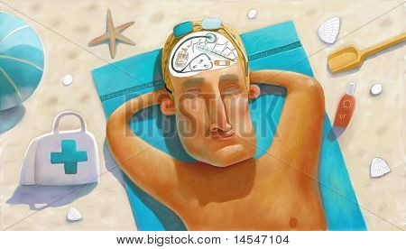 Doctor rests on the beach
